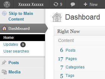 Screenshot showing results of Admin Menu Accessibility plugin action.