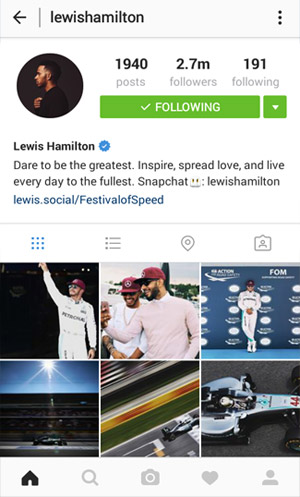 Instagram profile page - new design