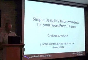 Me presenting at WordPress London