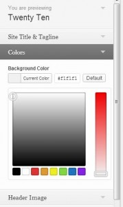 Theme Customizer panel - showing colour picker controls that are (in theory) keyboard operable.