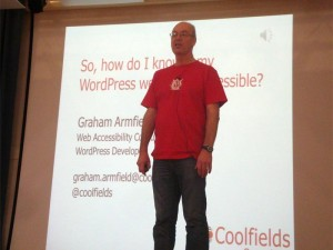 Graham Armfield giving a web accessibility presentation at WordCamp London